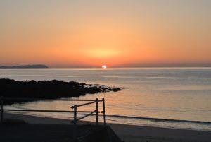 白浜海水浴場の夕焼け